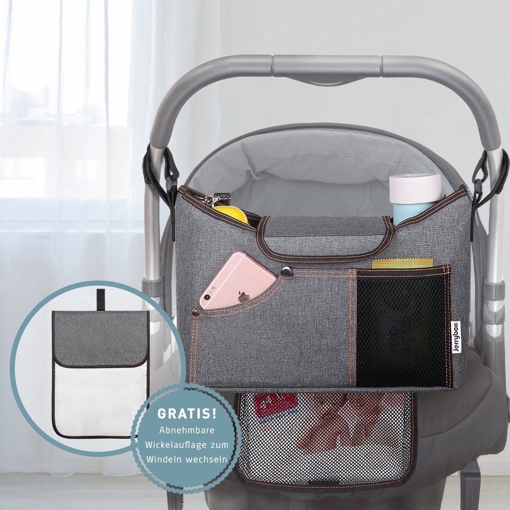 Stroller Organiser , Jerrybox Pram Buggy Buddy Storage Bag With Mobile Phone Holder PLUS Leather Strap (With Diaper Mat)