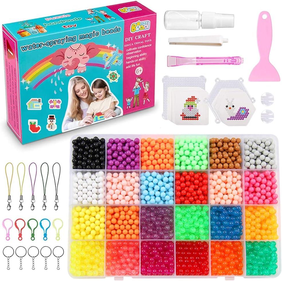meiruier 4000pcs Regalo Chico Chica Niños DIY Educativos Artesanía Craft Kits Abalorios Cuentas de Agua Gotas de Agua Kit Abalorios 24 Colors(10 Jewel)