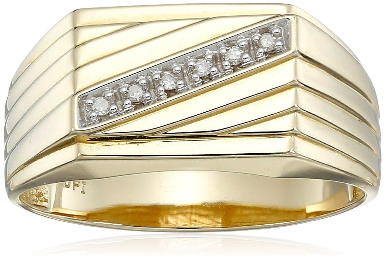 Men's 10k Yellow Gold Diagonal Diamond Ring, (0.03 cttw, I-J Color, I2-I3 Clarity) Size 10