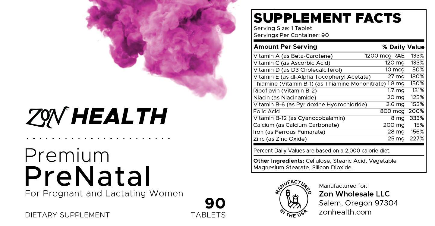 Mother & Baby, Pre and Post Pregnancy Essential Nutrition prenatal Vitamin, Vegan, 90 Tablets by Zon Health: Health ...