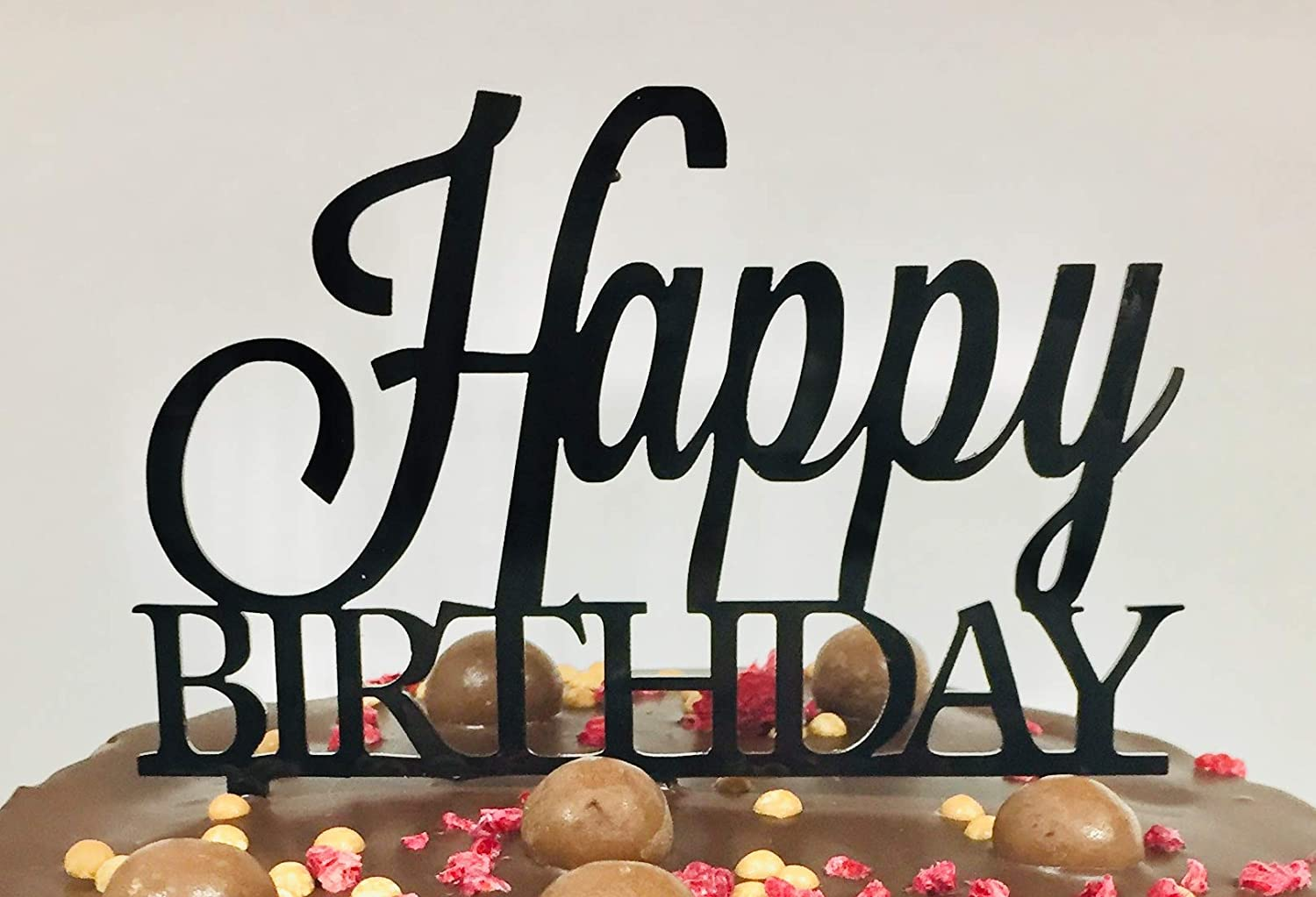 """Happy Birthday Cake Topper Designed by Professional Baker 130mm x 123mm (5x4.8""""). Turns Any Cake Into a Masterpiece. Reusable Strong Acrylic with Stylish Script in Black for Wow Factor"""