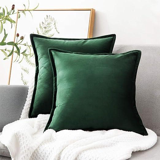 Bedsure Fundas de Cojín Decorativas Verde Oscuro Terciopelo ...