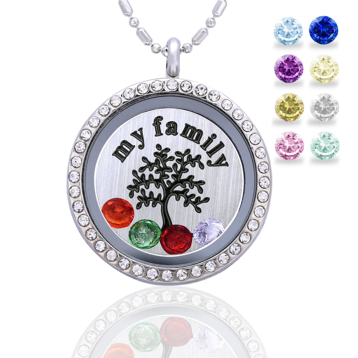with tree charm handmade personalized birthstone dp mothers amazon grandkids grandma family birthstones grandkid kids com necklace name