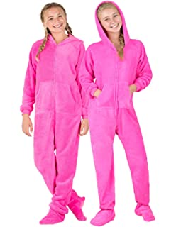 ... so cheap 6db64 d454e Footed Pajamas - Perfect Pink Kids Hoodie Chenille  Onesie ... 72fe1aecc