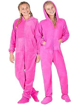 9cf4201116 Footed Pajamas - Perfect Pink Kids Hoodie Chenille Onesie - Extra Large
