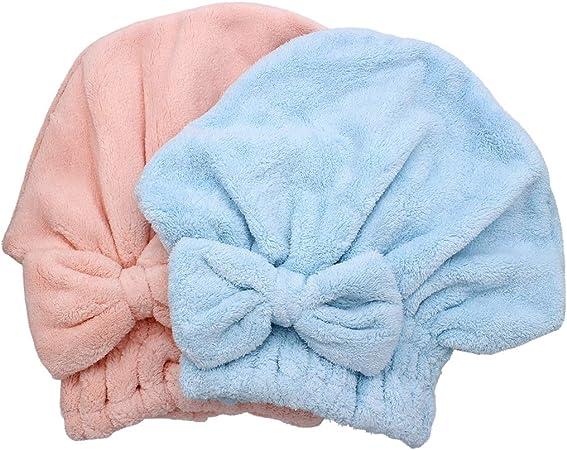 Dianoo 2PC Cuffia per Asciugare I Capelli Microfibra Rosa e Blu Turbante per Capelli Ad Asciugatura Rapida Cuffia da Doccia Morbida per Capelli Lunghi E Folti Donne Ragazze