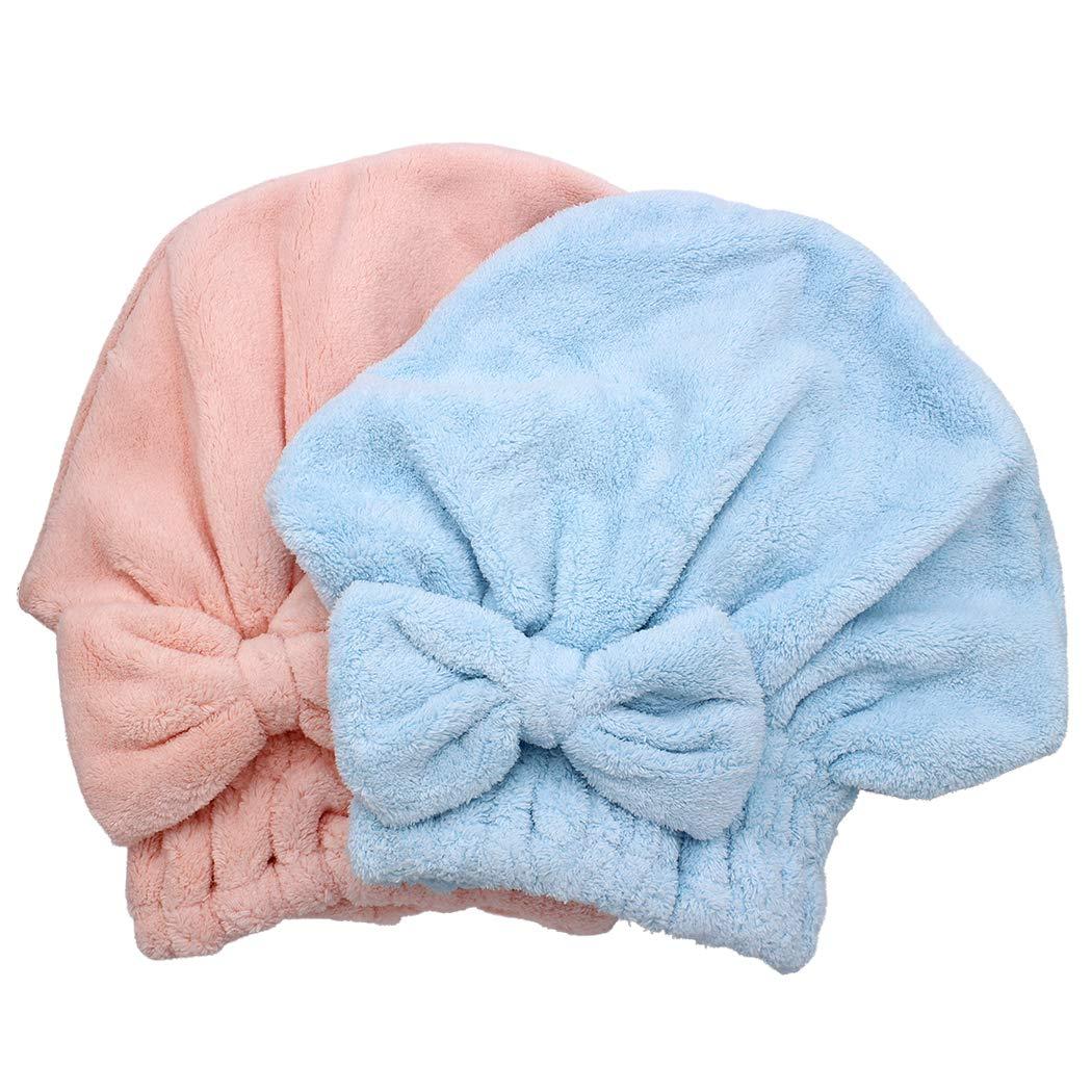 Dianoo 2PC Cuffia per Asciugare I Capelli Microfibra Turbante per Capelli Ad Asciugatura Rapida Rosa e Blu Cuffia da Doccia Morbida per Capelli Lunghi E Folti Donne Ragazze