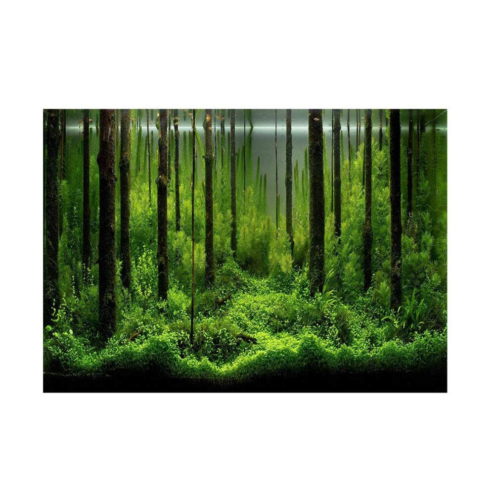 PVC Fish Tank Background Adhesive Underwater Forest Tank Background Poster Backdrop Decoration Paper (12246cm) by Fdit