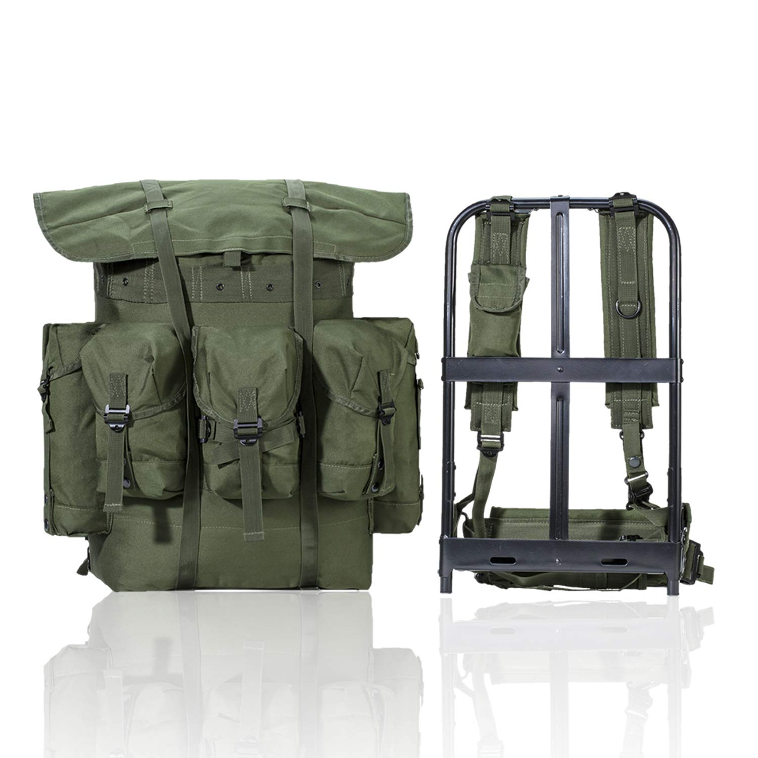 AKmaxUS Military Surplus Rucksack Alice Pack,Army Survival Combat Field A.L.I.C.E. Backpack with Suspender Strap and Frame 600D Polyester Waterproof Olive Drab