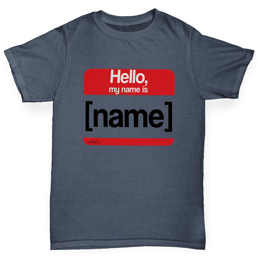 TWISTED ENVY Funny t Shirts for Boys Personalised My Name is Age 12-14 Dark Grey by TWISTED ENVY