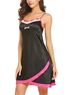 wearella Women s Valentine s Satin Nightgowns Sexy Lingerie Full Slip  Sleepwear Dress 4489bdf13