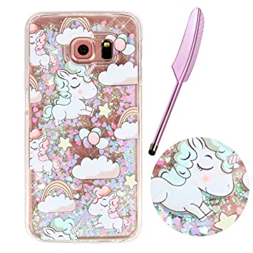 san francisco 8b162 abe59 Samsung Galaxy S6 Liquid Case, Galaxy S6 Glitter Case, Vioela Cute Lovely  Cartoon Baby Unicorn Clouds Rainbow Stars balloon Pattern Design Bling ...