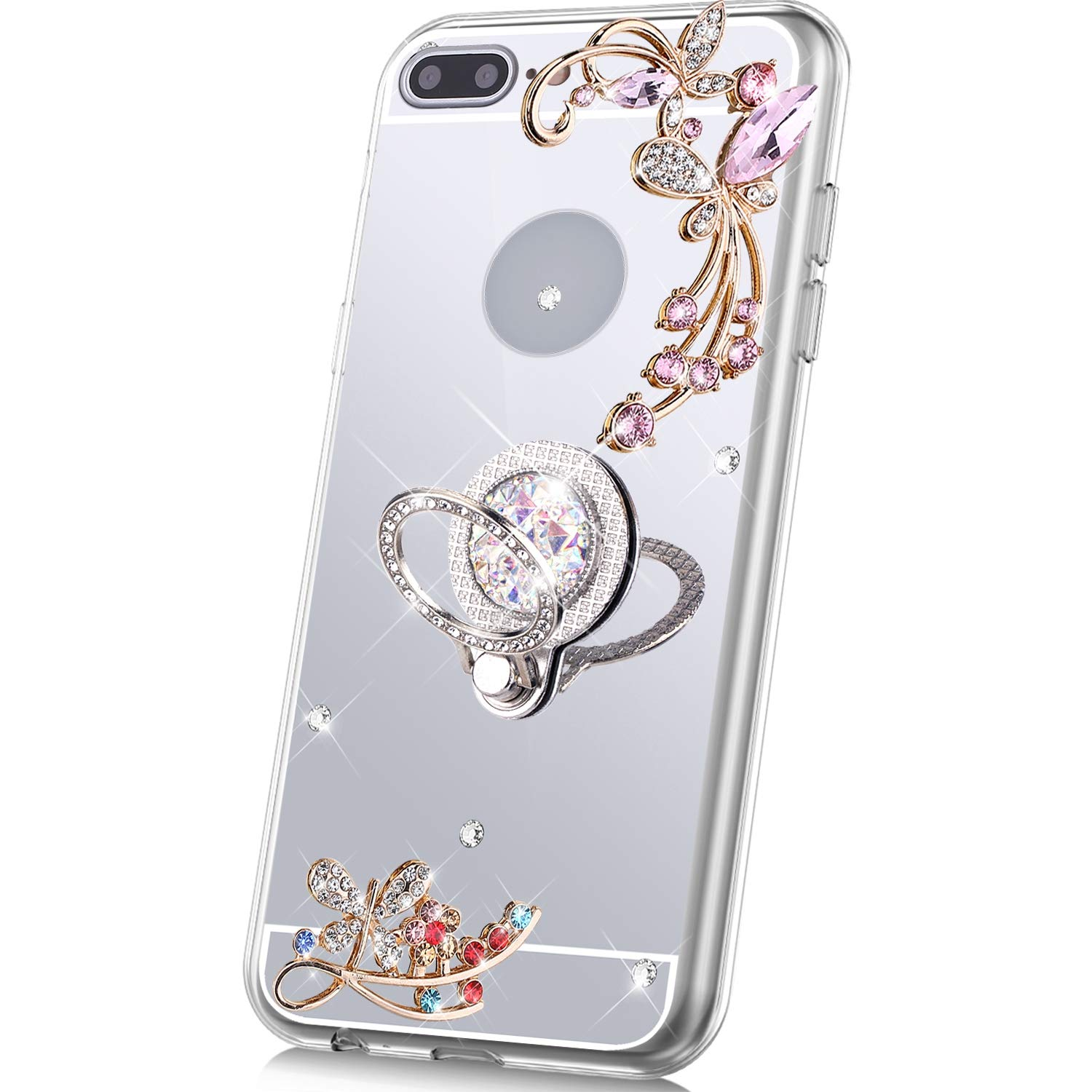 PHEZEN Case for iPhone 7 Plus/8 Plus Mirror Case,Bling Glitter Flowers Sparkle Rhinestone Mirror Back TPU Silicone Case Cover with Ring Kickstand Diamond Crystal Case for iPhone 7 Plus/8 Plus,Silver by PHEZEN
