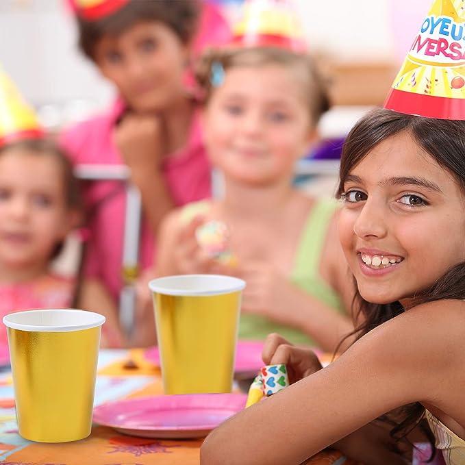 Hochzeit Party Jubil/äum Geburtstagszubeh/ör gold Elcoho 100er Pack 9oz Gold Folie Pappbecher Einwegbecher Trinkbecher f/ür Getr/änke