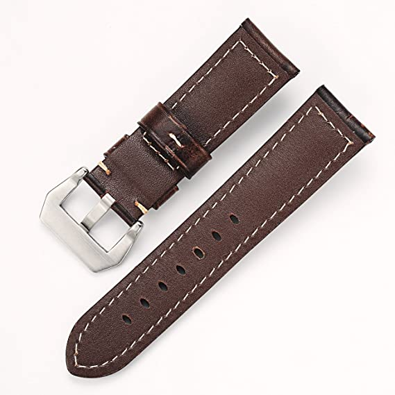 926edc2c4 Carty Mens Watch Strap Oil Wax Calfskin Handmade Leather Watch Band 22mm  Coffee-Brown Brushed Silver Buckle | Amazon.com