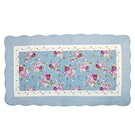 USTIDE Cotton Rose Area Rug Quilted Area Carpet Soft Baby Playmat Nursing Rugs 35x59
