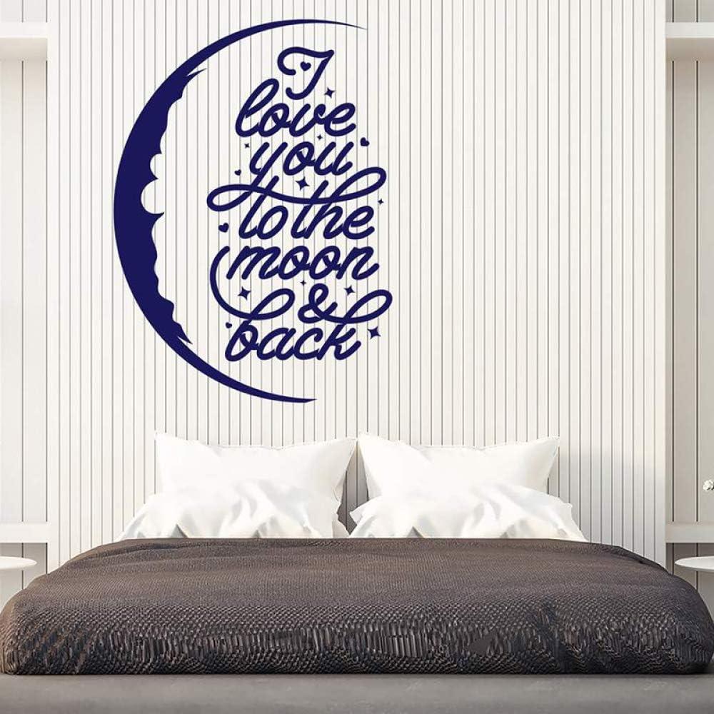 Te amo a la etiqueta de la pared lunar Motivo de vinilo y decoración trasera Mural de arte extraíble para la sala de estar del dormitorio 57x77cm