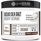 pureSCRUBS Premium Organic Body Scrub Set - Large 16oz COCONUT BODY SCRUB - Dead Sea Salt Infused Organic Essential Oils & Nu