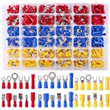 Glarks 540pcs 22-16/16-14/12-10 Gauge Mixed Quick Disconnect Electrical Insulated Butt Bullet Spade Fork Ring Solderless Crim