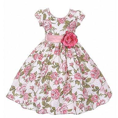 0b2d4c088a6 Good Girl Little Girls Dusty Rose Floral Print Jacquard Flower Girl Dress 6