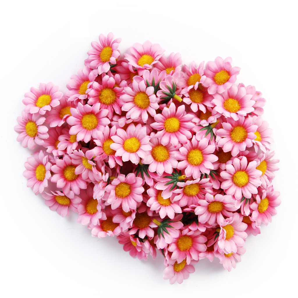 Gleader Approx 100pcs Artificial Gerbera Daisy Silk Flowers Heads for DIY Wedding Party (Dark Pink) RICISUNG FL-3
