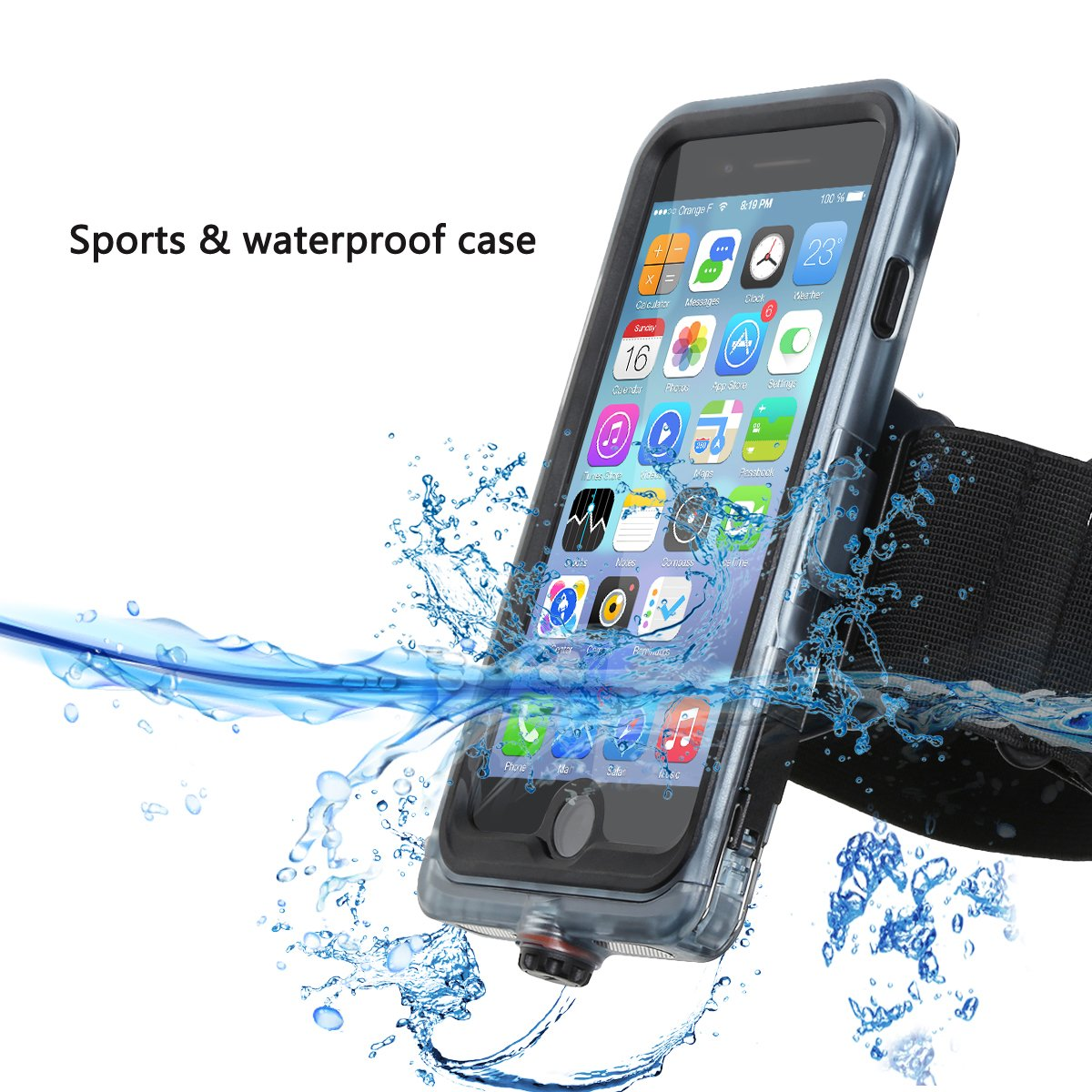 iPhone 7 Waterproof Case,Ideapro Watertight Case with Touch ID Shockproof Dirtproof Snowproof Armband and Stand Mount iPhone 7 (4.7 inch)