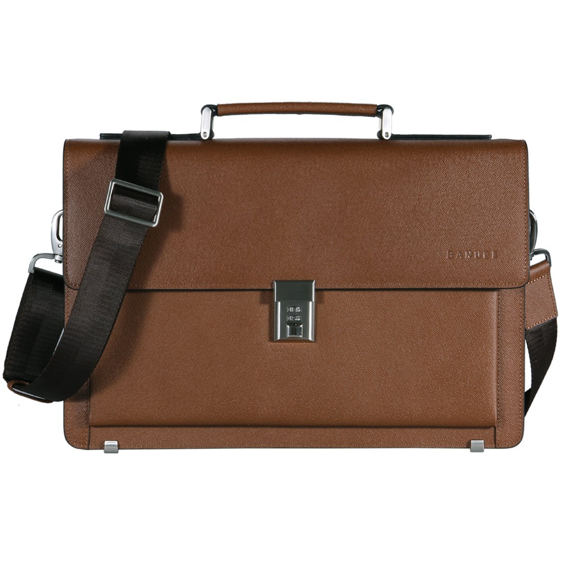 Banuce Genuine Leather Briefcase for Men Lock 2way Business Tote Laptop Messenger Bag Attache Case Brown