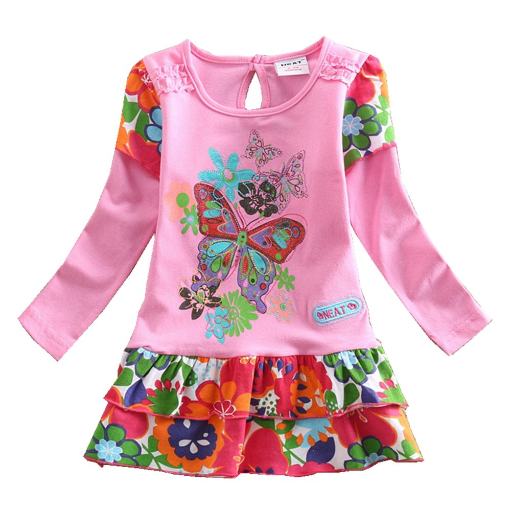 JUXINSU Cotton Toddler Girl Long Sleeve Dresses Flower Butterfly Pink Dress for Baby Girls Clothes 1-6 Years L191