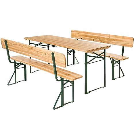 TecTake Conjunto de mesa y bancos de jardín y sillas de terraza muebles cervecería - varios modelos- (Tipo 4   no. 402503)