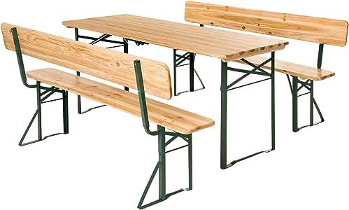 TecTake Conjunto de mesa y bancos de jardín y sillas de terraza ...