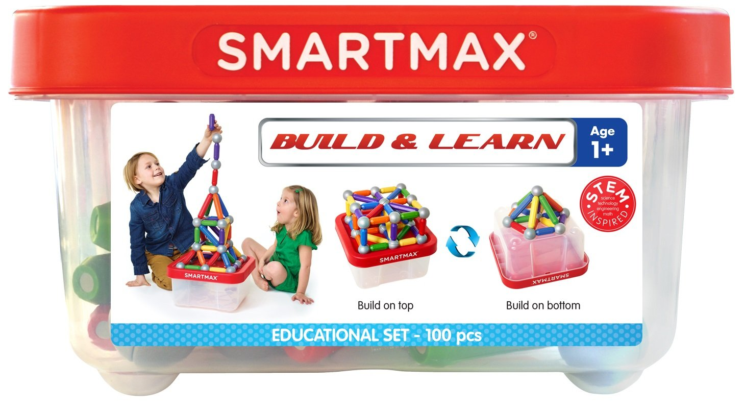 SmartMax Build & Learn (100 pcs) STEM Magnetic Discovery Building Set Featuring Safe, Extra-Strong, Oversized Building Pieces and Sturdy Storage Case for Ages 3+