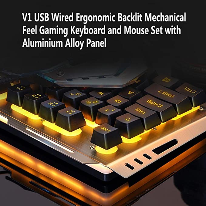 468671ecf9a Amazon.com: Easydeal V1 USB Wired Ergonomic Backlit Mechanical Feel Gaming  Keyboard Mouse Set: Computers & Accessories