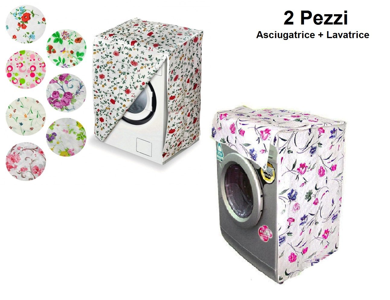 Ducomi Turbo Wash - Cover for Front-Loading Washing Machines and Dryer - Prevents the Deterioration of the Machine - 82 x 62 x57 cm (1 Pezzo, Flowers)