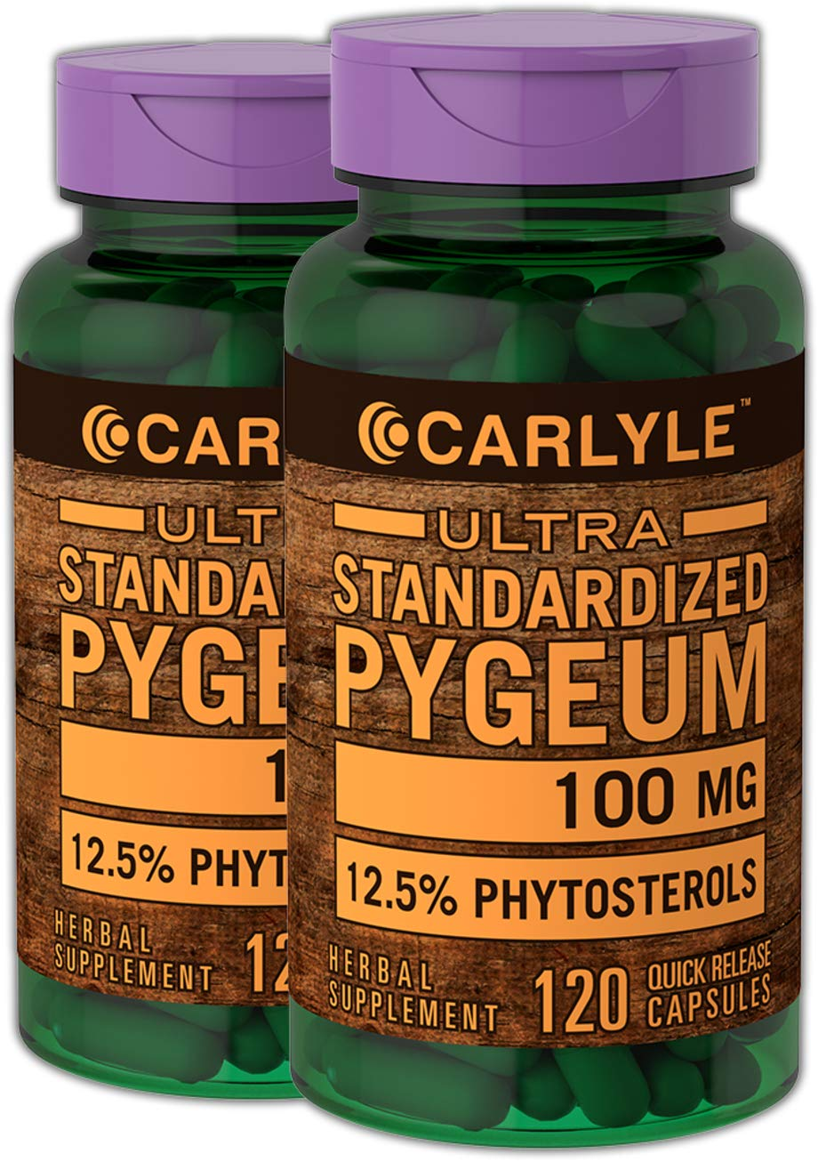 Carlyle Pygeum Standardized 100 mg 240 Capsules   Non-GMO & Gluten Free   Prostate Support, Urinary Tract Health   Pygeum Africanum Bark Extract Supplement
