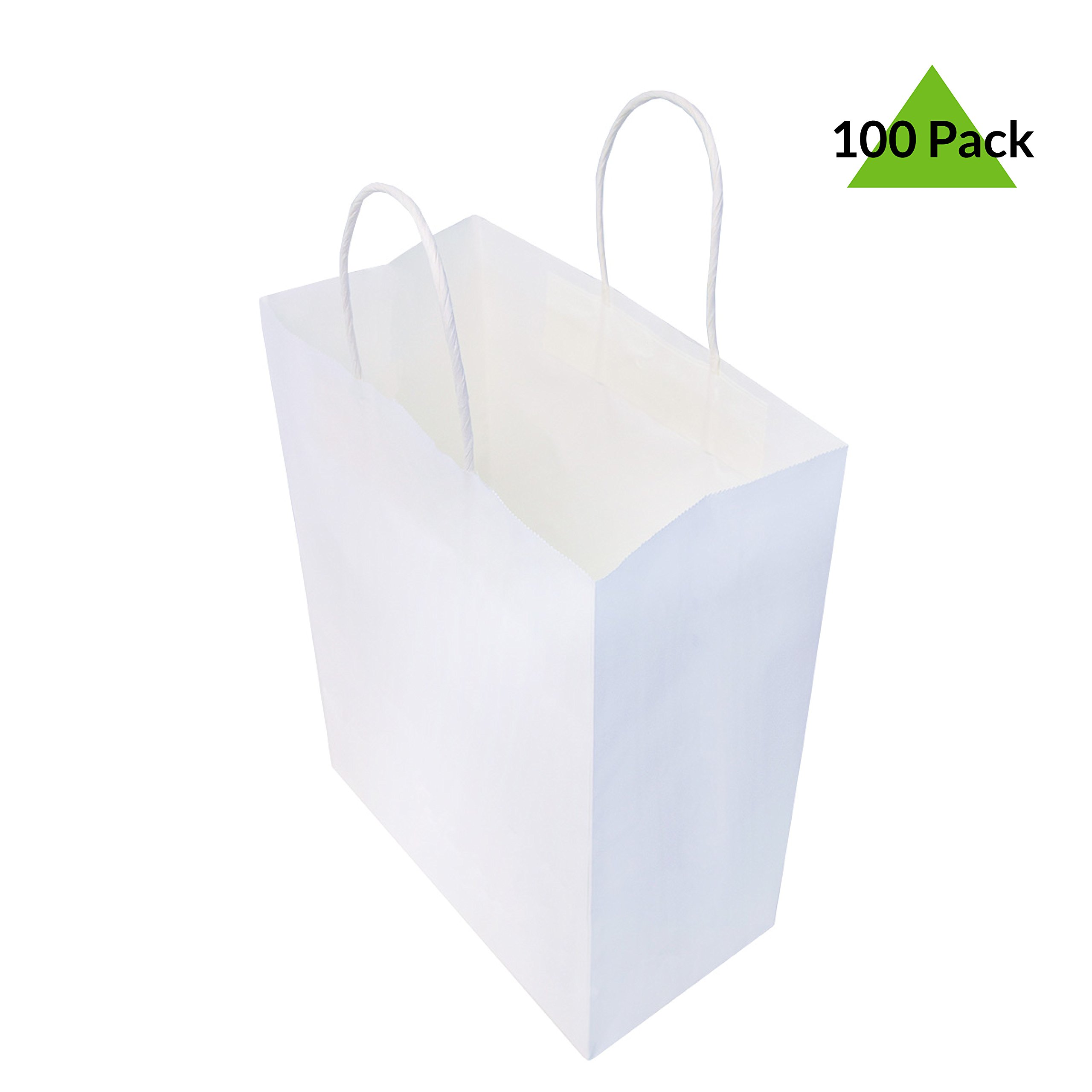 8x4x10'' Pack Of 100 White Kraft Paper Gift Bags With Handles, Shopping Bags, Merchandise Retail Bags, Party Favor Bags