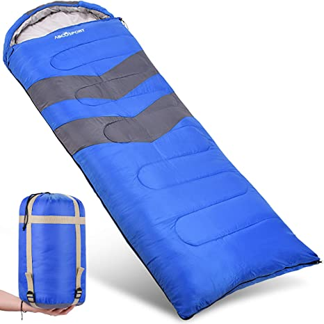 c3414278a48 Abco Tech Sleeping Bag – Envelope Lightweight Portable, Waterproof, Comfort  with Compression Sack - Great for 4 Season Traveling, Camping, Hiking, ...