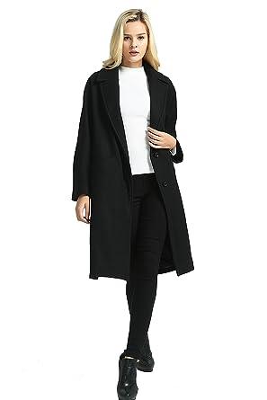 5793f80f89 Grace Women's Woolen Long Coat Woolen Warm Jacket Oversized Coat, Black,  One Size