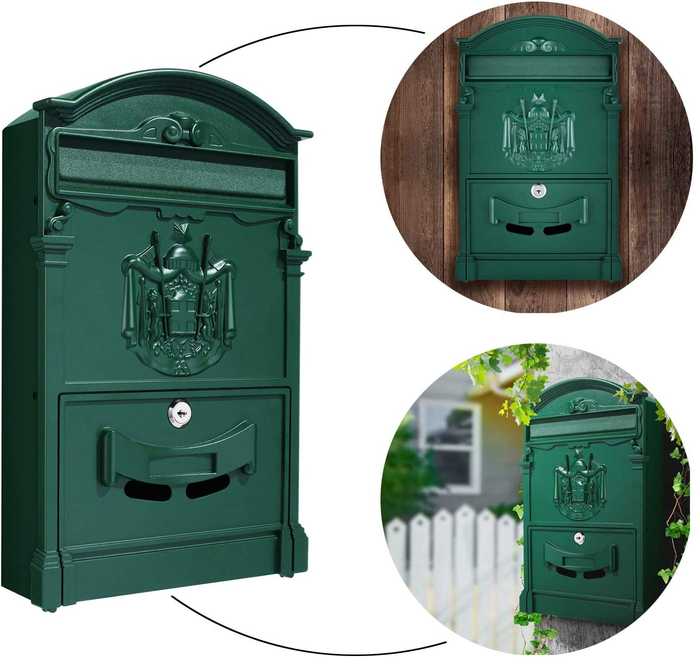 Green Mailbox for Post Retro Style Mailbox That Locks Vintage Wall-Mount Mailboxes Mailbox Vertical Wall Mount on House or Office