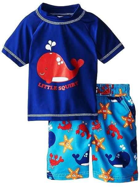 0a9450bd Amazon.com: iXtreme Little Boys Swimwear Whale Short Sleeve Rashguard Swim  Board Short Trunk, Navy, 2T: Clothing