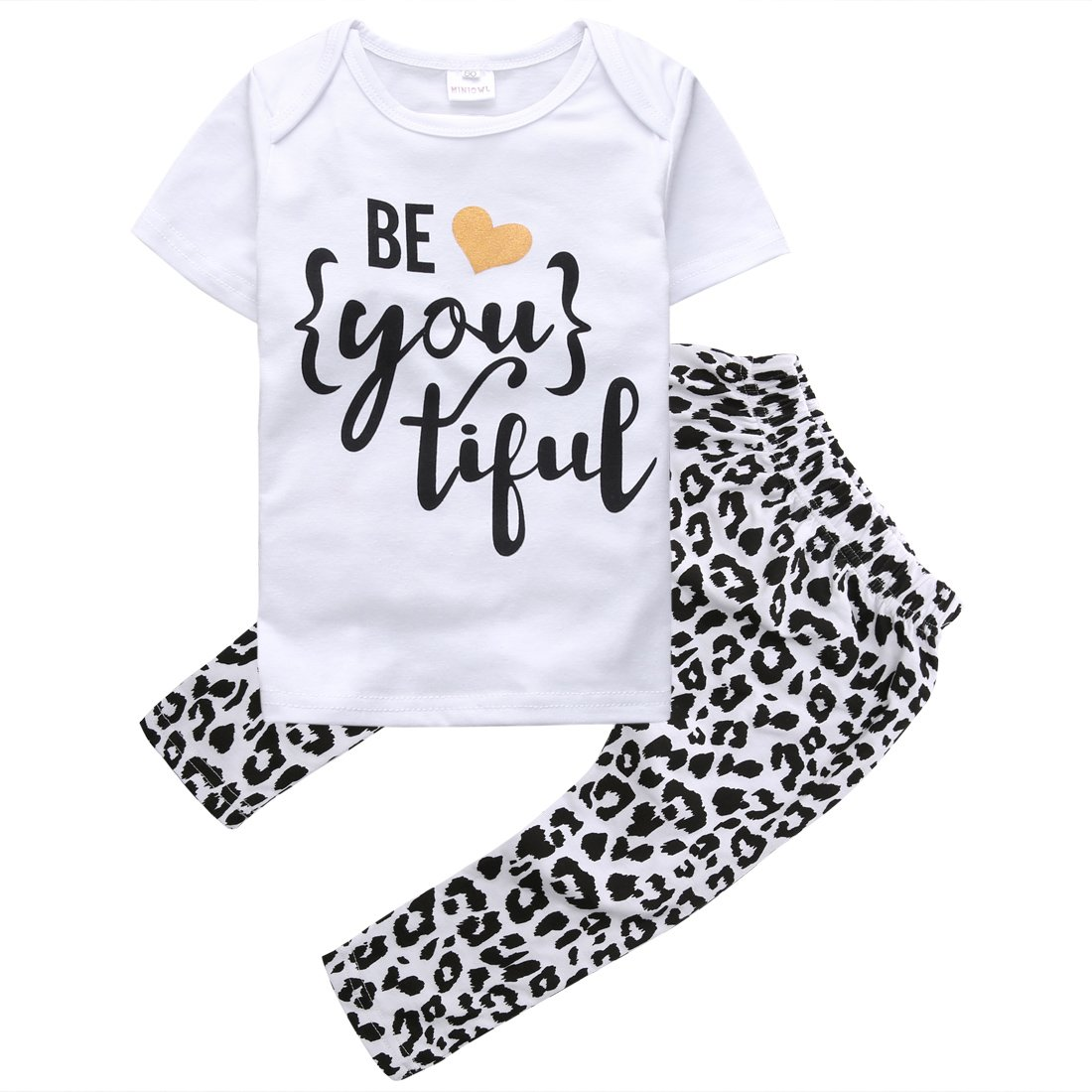 Baby Girls Short Sleeve Letters be you tiful T-shirt and Leopard Pants Outfit