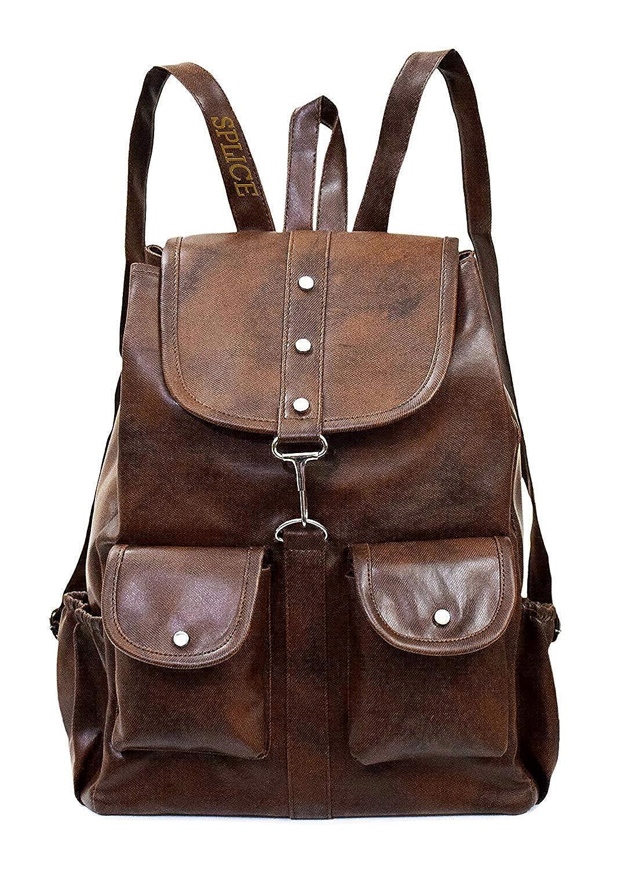 7475dd85a083 SPLICE PU Leather Backpack School Bag Student Backpack Women Travel bag 6 L  Backpack (M, Brown)