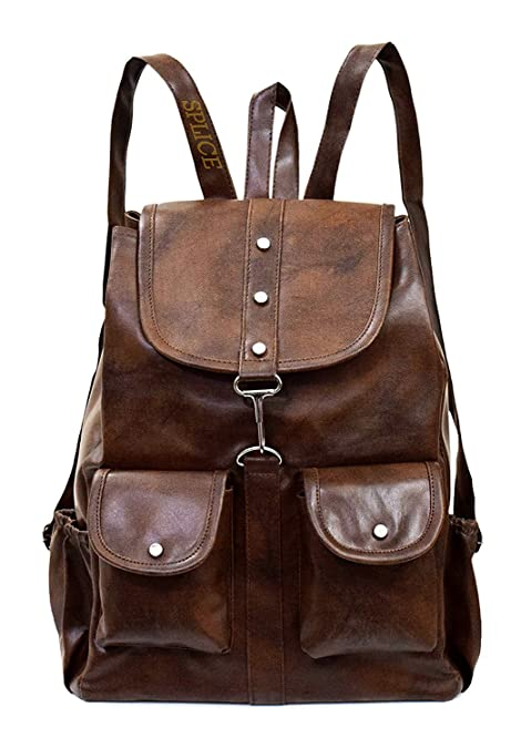 6a5e967bddb2 SPLICE PU Leather Backpack School Bag Student Backpack Women Travel bag 6 L  Backpack (M