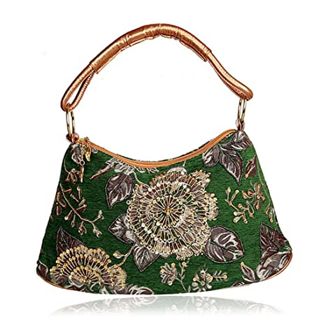 Dabixx - Bolso de Mano para Mujer, Diseño de Flores, Verde, 42x46cm/