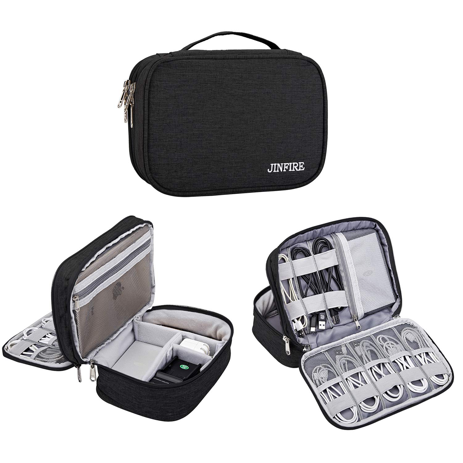 JINFIRE Electronics Organizer Travel Cable Storage Bag Waterproof Electronic Accessories Bag for Cables, Charger, Phone, iPad, Black