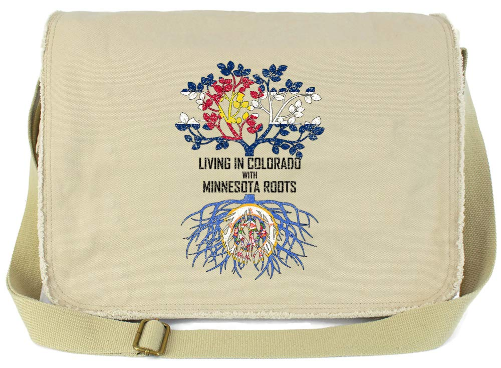 Tenacitee Living In Colorado with Minnesota Roots Grey Brushed Canvas Messenger Bag