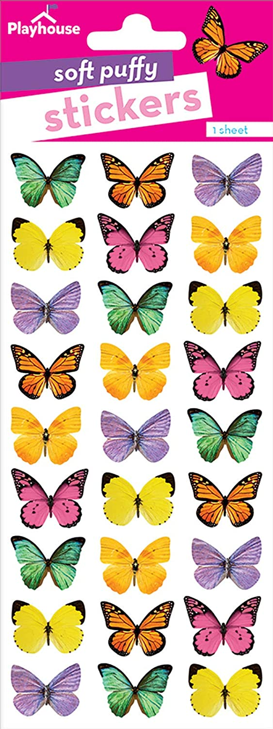 Playhouse Beautiful Butterflies Pack of Three Perforated Sticker Sheets Paper House