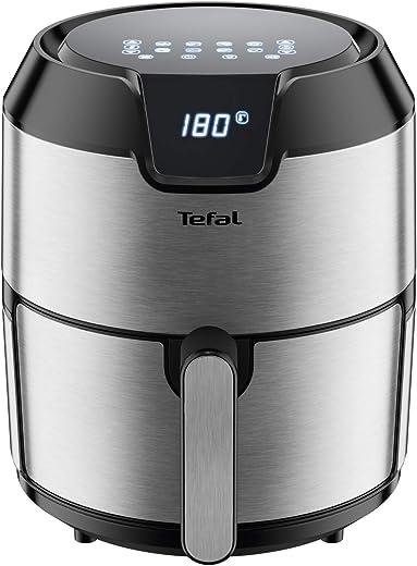 Tefal EY401D Easy Fry Deluxe Heteluchtfriteuse, 1500 watt, inhoud 4 liter, voor maximaal 6 porties, roestvrij staal/zwart
