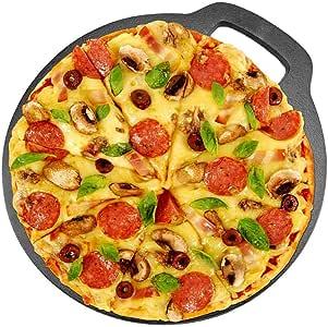 Plato para pizza antiadherente de hierro fundido para horno, pizza: Amazon.es: Hogar