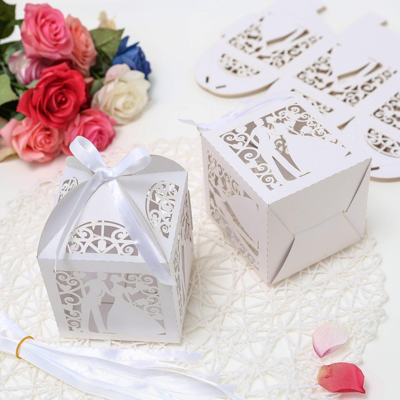 PONATIA 25PcsLot 4x4 Laser Cut Pearl Paper Party Wedding Favor ...