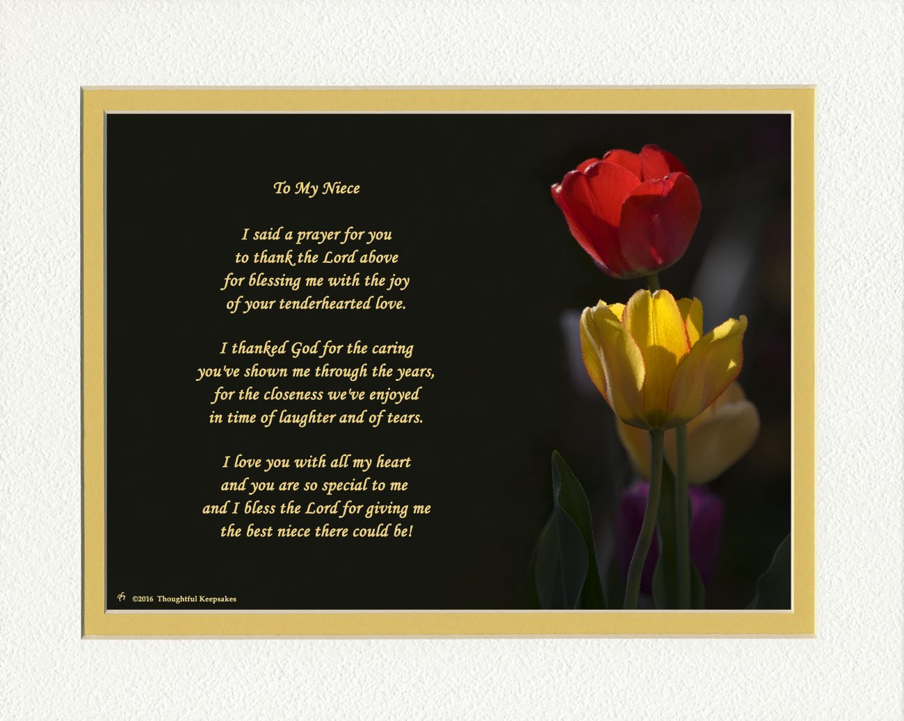 Niece Gift with ''Thank You Prayer for Best Niece'' Poem. Tulips Photo, 8x10 Double Matted. Special Birthday or Christmas Gifts for Niece.